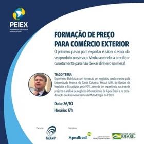*Convite Capacitação Coletiva PEIEX Campinas: Formação de preço - 26/10 - 17h